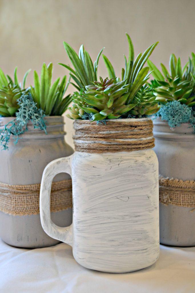 Finished! Mason Jar Succulents